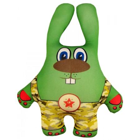 Игрушка Заяц в камуфляже зеленый