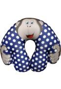 Подушка под шею Игрушка Обезьянка Горошек синяя